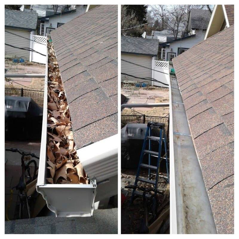 Before and after picture of fall cleanup in the gutter