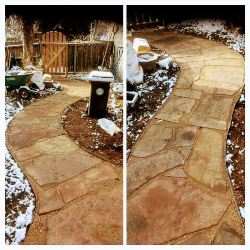 Patio walkway in the winter